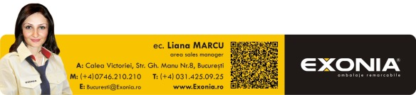 Liana MARCU - reprezentant zonal zona Bucuresti Fabrica De Ambalaje Exonia