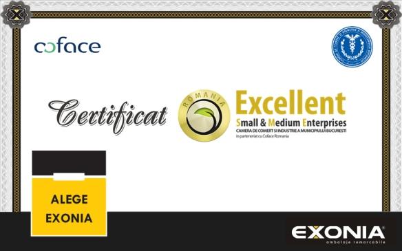 Certificat Excellent SME de la Coface Romania pentru Exonia Hold