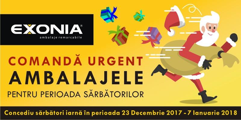 Banner Fabrica De Ambalaje EXONIA - Comanda urgent ambalajele pentru perioada sarbatorilor